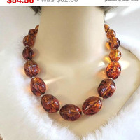 SALE Signed Joan Rivers Amber Swirl Lucite Bead Necklace Vintage Beaded