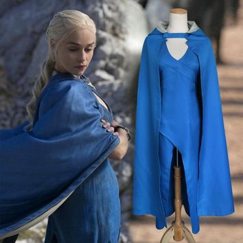 Game of Thrones Daenerys Targaryen Cosplay Blue Cloak Costume