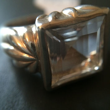Sterling Silver Quartz Ring - Size 7