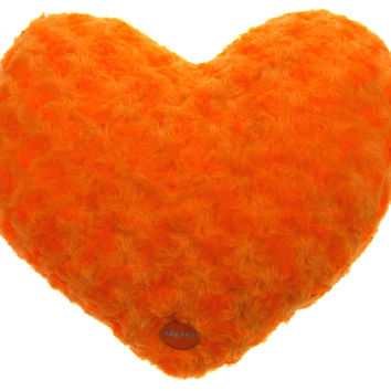 "Orange Heart Plush Throw Pillow Multi Color LED Light Up Flash 13"" Microbeads"
