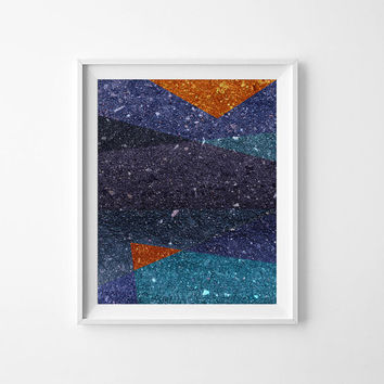 Navy Abstract Art Print 4