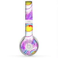 The Neon Pink & Turquoise Peacock Feather Skin for the Beats by Dre Solo 2 Headphones