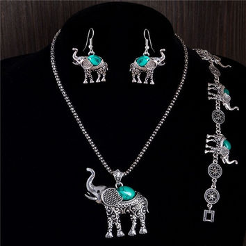 1set Animal Elephant Women's Necklace Pendant Drop Earrings Bracelet Jewelry Set = 1945693764