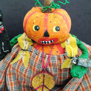 "OOAK Primitive Folk Art Pumpkin Head--""PETRA the PEACEMAKER""  Pumpty Dumpty --Original Design w/Black Cat, Mouse and Peace Sign"