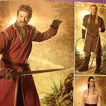 Mens Renaissance Medieval Costume Pattern Lord of the Rings Elrond Aragorn Legolas Elf Archer King XS to XL Uncut