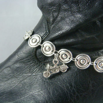 Boot Bracelet ~ Boot Bling ~ Bracelets for Boots ~ Motorcycle Boot Bling - Boot Jewelry - Circle Links and Motorcycle Charms