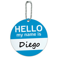 Diego Hello My Name Is Round ID Card Luggage Tag