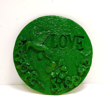 love hummingbird plaque, gardening, flowers // forest kelly green, birds, wall decor, garden, summer, nature, bird