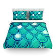 "Theresa Giolzetti ""Mermaid Tail"" Teal Blue Cotton Duvet Cover"