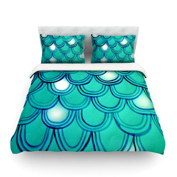 "Theresa Giolzetti ""Mermaid Tail"" Teal Blue Featherweight Duvet Cover"