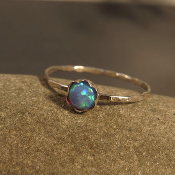Opal stacking rings set of 3, skinny rings, October birthstone ring, Dainty Opal rings, october birthday Opal jewelry