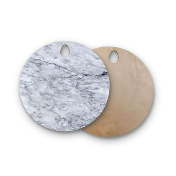 "Chelsea Victoria ""Marble"" Blue Black Round Wooden Cutting Board"