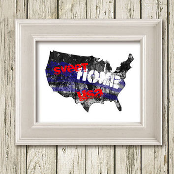 USA MAP Sweet Home Cool Colors Print Poster Typography Home Decor Wall Art CI002C
