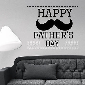 Wall Decal Quotes Happy Father's Day Mustache Decals Home Decor Sticker MR791