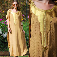 70's Moroccan Caftan Dress, Boho Hippie Maxi Dress, Gold Embellished Brocade Embroidered Dress, Bohemian Ethnic Tunic Festival Dress, S M L