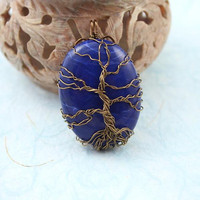 Lapis Blue Howlite Tree of Life brass wire-wrapped pendant