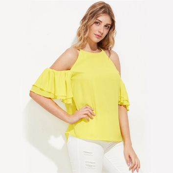 Yellow Ruffle Flutter Sleeve Cute Blouse