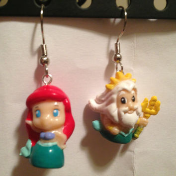 Squinkies Earrings - Disney Ariel & Triton - made from re-purposed toys