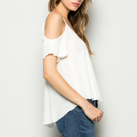 Flowy Ivory Cold Shoulder Top