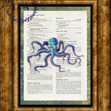 Sinister Blue Octopus into the Light Glow Art - Vintage Upcycled Cookbook Page Art Print, Sea Life Print