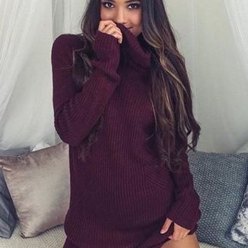 SIMPLEE Loose Sweater Dress