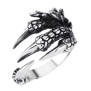 New Personalized Punk Rock Rings  Mens  Rings Vintage Gothic Jewelry Dragon Claw Ring For Men Gift