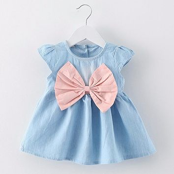 Puseky New Fashion Girls Cowboy Short Sleeve Bow Denim Dress Baby Girls Summer Clothes Kids Girls Ball Cute Dress 6M-3T