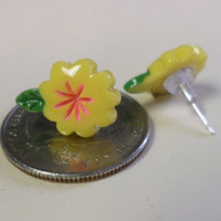 Yellow, Tropical Flower Post Earrings, Stud Earrings, Hawaiian Theme Jewelry,Hibiscus, Flower Girl Earrings, Floral Studs