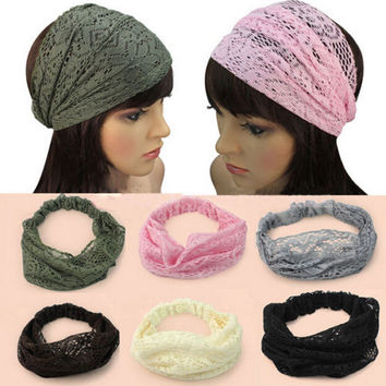 Fashion Lace Wide Headband Headwrap Bandanas Head Wraps Hair Accessory Gift
