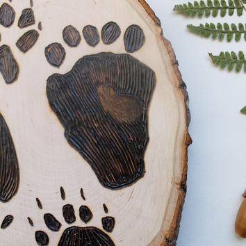 Woodland Animal Tracks Wood Burning Rustic OOAK Pyrography Art by Sarah Rose Storm