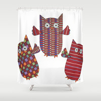 3 Red Owls Flying Shower Curtain by Erin Brie Art