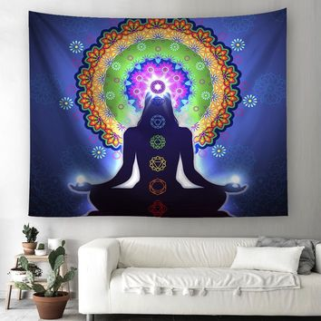 Cilected Chakra Tapestry Wall Hanging 100% Polyester Meditation Mandala Tapestries Wall Art Decorative Psychedelic Yoga Tapestry