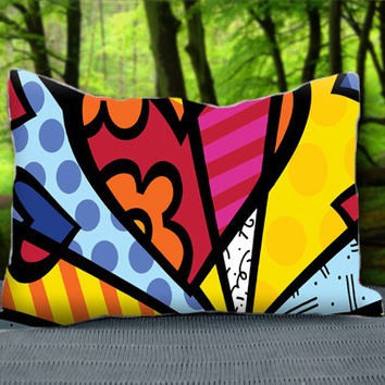 "Colorful Art Romero Britto Custom Pillow Case 30"" x 20"""