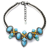 Blue Rhinestone Faux Stone Necklace