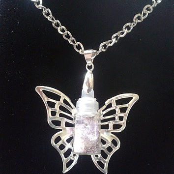 Lavender Glow in the Dark Fairy Dust Wishing Necklace with Shooting Stars & Silver Wings