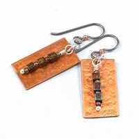 Handcrafted Hammered Copper Earrings Silver Niobium Czech Glass Beads