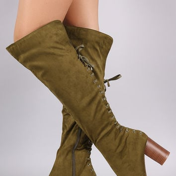 Suede Back Corset Lace Up Chunky Heeled Boots
