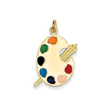 14k Yellow Gold and Enameled Polished Artist Palette Pendant