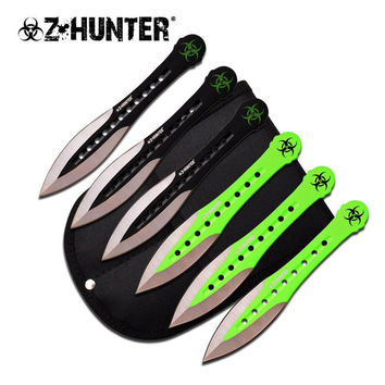 Z Hunter Throwing Knife 6 Pcs Set 6 Inches Black And Green Blade