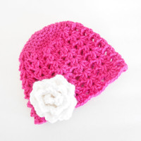 Crochet Baby Hat - Crochet Baby Beanie - Crochet Newborn Hat with Flower - Crochet Newborn Beanie with Flower - Crochet Baby Girl Beanie
