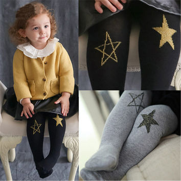 Spring Autumn Children Girls Cotton Tights Cartoon Star Cat Cute Pantyhose Tights For Baby Girls Kids 0-7 Years