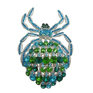 TTjewelry Classic Deluxe Rhinestone Crystal Big Spider Brooch Pins Huge Animal Pendant B10479200