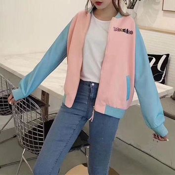 ONETOW Moschino' Women Casual Multicolor Letter Embroidery Cartoon Rainbow Pony Pattern Print Long Sleeve Zip Cardigan Baseball Clothes Coat