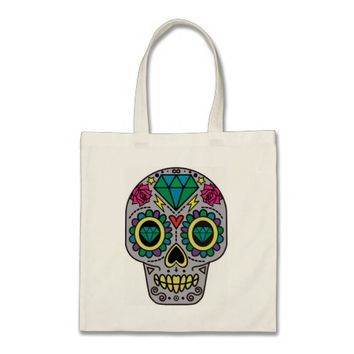 Colorful Flower Sugar Skull Budget Tote Bag