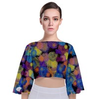 Paint Brushes On A Black Background Tie Back Butterfly Sleeve Chiffon Top