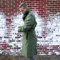 60s Trench Warfare - Vintage - Mens Full Length Military Trench Coat - Sz S