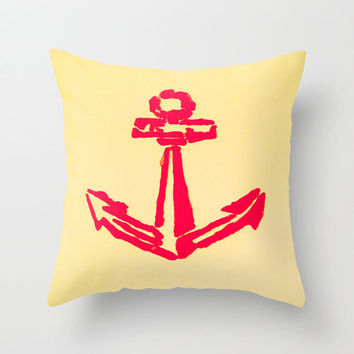 Anchor Pillow Cover - red sailor naval theme artsy hipster home decor throw cushion decorum one of a kind unique