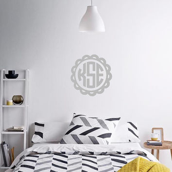 Scallop Monogram Wall Decal Sticker - Monogram - DIY - Removable - Wall Safe - Door Monogram Decal - College Dorm Decal - Bedroom - Nursery