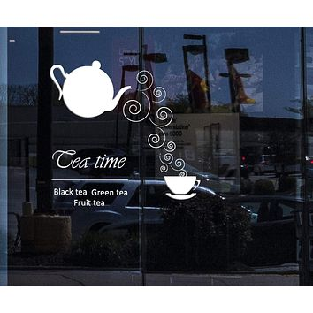 Window and Wall Sticker Black Tea Fruit Tea Green Tea Cool Decor For Kitchen Unique Gift z1451w