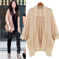 Women Casual Apricot Batwing Sleeves Collarless Cardigan Blouse Top Shirt